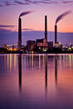 City Water, Light & Power in a purple sky.